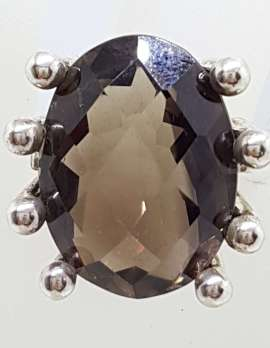 Sterling Silver Large Oval Claw Set Smokey Quartz Ring