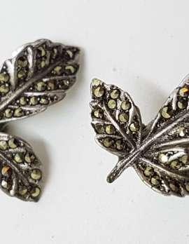 Sterling Silver Vintage Marcasite Clip-On Earrings - Large Leaves