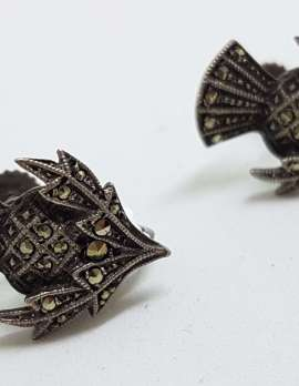 Sterling Silver Vintage Marcasite Screw-On Earrings - Scottish Thistle