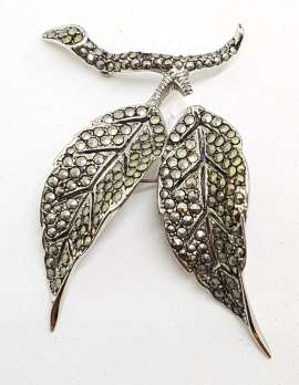 Sterling Silver Vintage Marcasite Brooch – Very Large Double Leaf