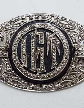 "Sterling Silver Vintage Marcasite & Onyx Brooch – Very Large Ornate Monogrammed ""IGT"""