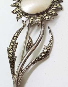 835 Silver Vintage Marcasite Brooch – Large Sunflower