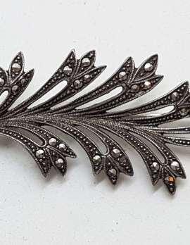 Sterling Silver Vintage Marcasite Brooch – Large Leaf