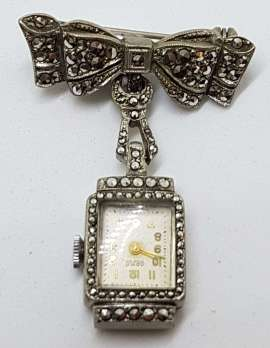 Sterling Silver Vintage Marcasite Brooch – Large Nurses Watch on Bow