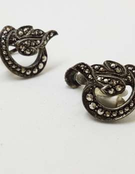 Sterling Silver Vintage Marcasite Screw-On Earrings - Stylised