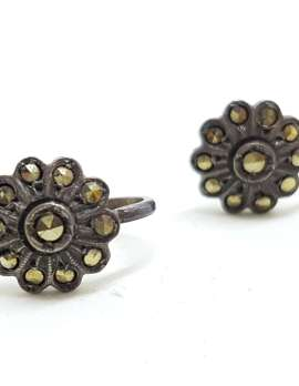 Sterling Silver Vintage Marcasite Screw-On Earrings - Round Flower