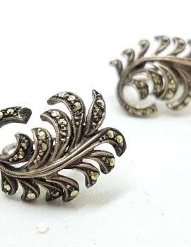 Sterling Silver Vintage Marcasite Clip -On Earrings - Leaf Spray
