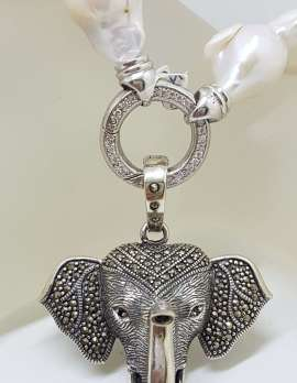 Sterling Silver Large Marcasite Elephant Head Enhancer Pendant on Thick White Baroque Pearl Chain / Necklace