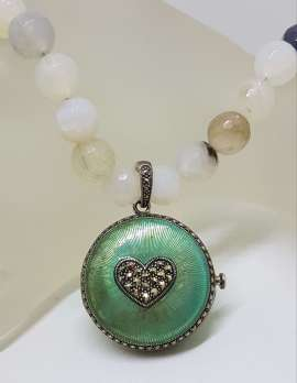 Sterling Silver Marcasite Heart with Blue Enamel Large Round Locket / Compact Enhancer Pendant on Natural Bead Chain / Necklace