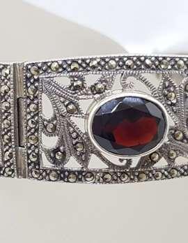 Sterling Silver Marcasite and Garnet Ornate Filigree Wide Bracelet