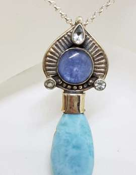 Sterling Silver Larimar, Kyanite and Topaz Pendant on Sterling Silver Chain