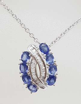 9ct White Gold Sapphire and Diamond Pendant on 9ct Chain