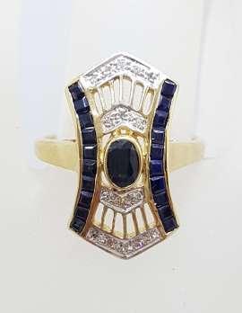 9ct Yellow Gold Natural Sapphire & Diamond Long Ornate Ring - Art Deco Style