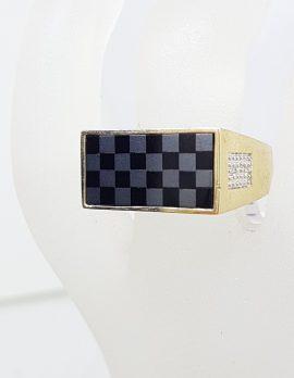 9ct Yellow Gold Onyx, Hematite / Iron Ore and Diamond Checkerboard Gents Ring