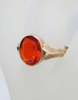 9ct Rose Gold Oval Orange Stone Gents Ring - Antique / Vintage