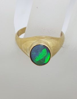 9ct Yellow Gold Large Oval Opal Gents Ring - Antique / Vintage