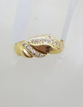 18ct Yellow Gold Cubic Zirconia Wavy Design Ring - Vintage / Antique