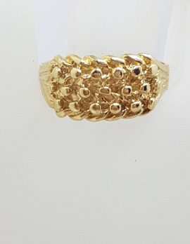 """9ct Yellow Gold Wide """" Keeper """" Ring - Ladies / Gents"""
