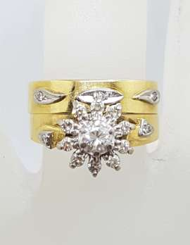 18ct Yellow Gold Diamond Daisy Flower Cluster Engagement & Wedding Ring Set - Antique / Vintage