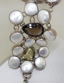 Sterling Silver Very Wide Citrine, Pearl and Smokey Quartz Large Chunky Bracelet