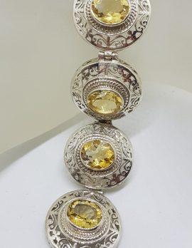 Sterling Silver Large / Wide Ornate Filigree Oval Citrine Bracelet