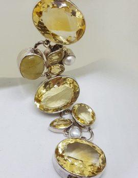 Sterling Silver Citrine, Rutilated Quartz and Pearl Bracelet
