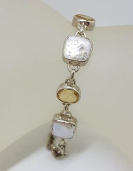 Sterling Silver Oval Citrine with Square Pearl Bracelet