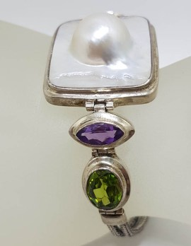 Sterling Silver Square Mabe Pearl, Peridot and Amethyst Bracelet