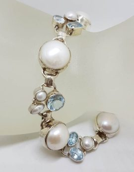 Sterling Silver Mabe Pearl and Round Pearl with Topaz Cluster Bracelet
