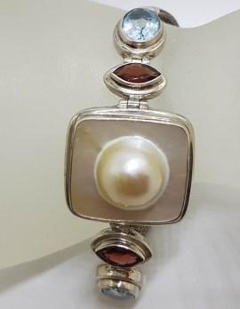 Sterling Silver Large Squa Mabe Pearl, Garnet and Topaz Bracelet