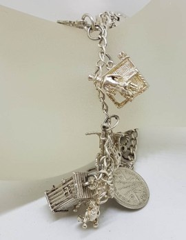 Sterling Silver Heavy Vintage Charm Bracelet with Assorted Charms
