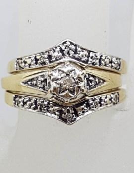 9ct Yellow Gold Diamond Wedding, Engagement and Eternity Three Ring Set - Antique / Vintage