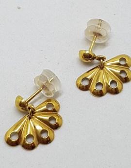 9ct Yellow Gold Fan Shape Drop Earrings - Vintage