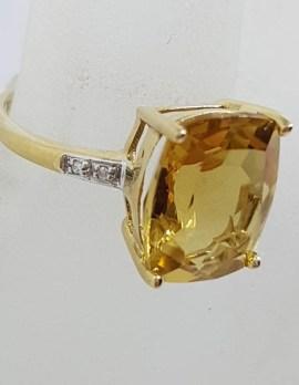 9ct Yellow Gold Rectangular Citrine and Diamond Ring
