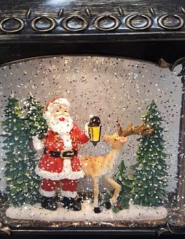 Musical Christmas Glitter Lantern – Santa with Lantern and Reindeer / Rudolph – Christmas Ornament Design #22