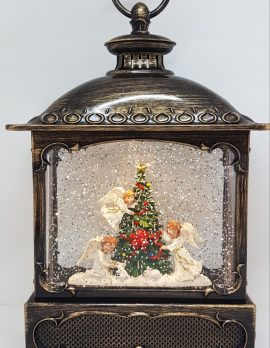 Musical Christmas Glitter Lantern – Three Angels Around the Christmas Tree – Christmas Ornament Design #23