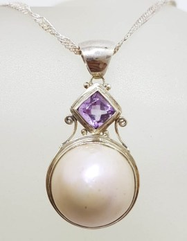 Sterling Silver Round Mabe Pearl with Square Amethyst Pendant on Silver Chain