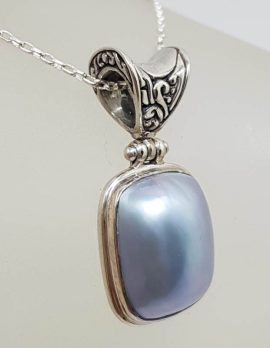 Sterling Silver Rectangular Blue / Grey Mabe Pearl Ornate Top Pendant on Silver Chain
