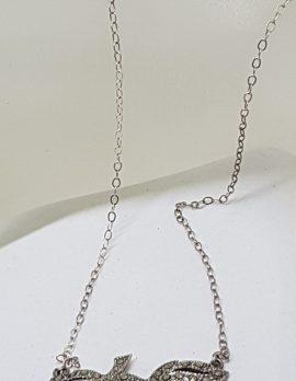 Sterling Silver Vintage Marcasite Leaf Design Necklace / Chain
