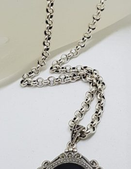 Sterling Silver Large Oval Ornate Marcasite & Onyx Pendant on Silver Chain