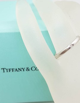 Tiffany & Co. Platinum Solitaire Diamond Wedding Band / Stackable Ring