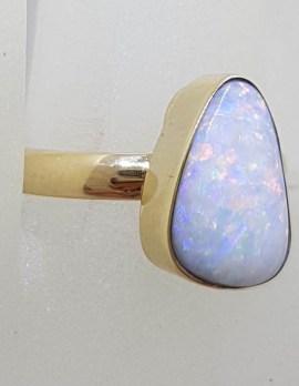 9ct Yellow Gold Triangular Opal Ring - Cooper Pedy