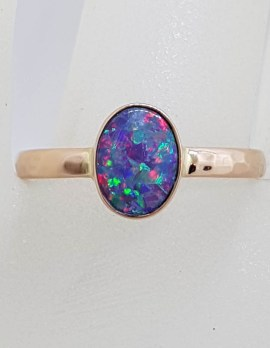 9ct Rose Gold Oval Opal with Beaten Band Design Ring - Coober Pedy