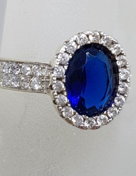 Sterling Silver Oval Blue and Clear Cubic Zirconia Ring