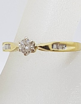 18ct Yellow Gold Claw Set and Channel Set DIamond Engagement Ring