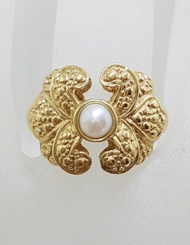 9ct Yellow Gold Wide Pearl Ring