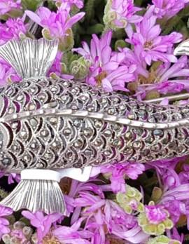 Sterling Silver Marcasite & Garnet Large Koi Fish Brooch