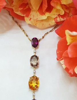 9ct Yellow Gold Rhodolite Garnet, Smokey Quartz, Citrine, Amethyst and Diamond Long Drop Pendant on Gold Chain