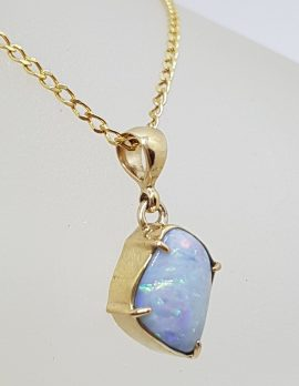 9ct Yellow Gold Unique Shape Opal Pendant on Gold Chain