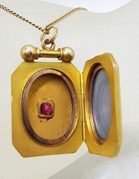 9ct Rose Gold with Garnet Rectangular Locket Pendant on Gold Chain - Antique / Vintage
